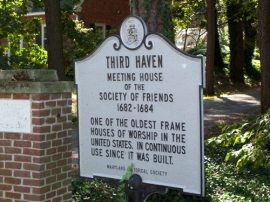 Historical marker for the Third Haven Meeting House